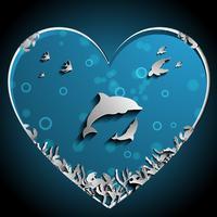 Amare i delfini sotto il vettore di papercut del mare, opera d'arte. Concetto di natura e oceano. Tema di delfino e animale.