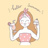 Cartone animato carino estate dolce donna vettoriale.