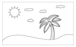 Beach line art for painting and imagine. Nutural and Sketch art concept. Outline theme. Vector illustration background.