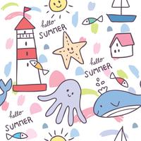 Cartoon cute summer sea animal seamless pattern vector.