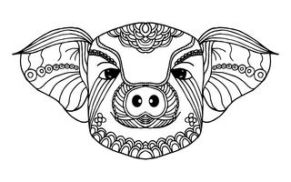 Pig zodiac line art. Hand drawn and Animal concept. Black and white for painting. Vecture illustration graphic design element. Sign and Symbol theme. 2019 Golden pig for Chinese new year theme.