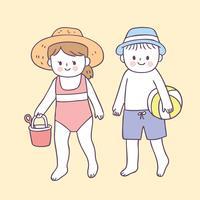 Cartoon cute boy and girl on beach vector.