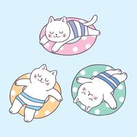 Cartoon cute summer cat sleeping and life ring vector.