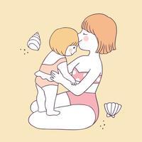 Cartoon cute summer mom and daughter vector.