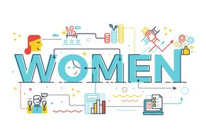 Women word in business concept