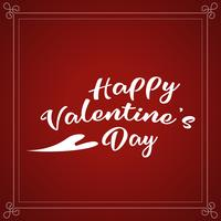Happy Valentine's Day holiday lettering design. White Valentines text with heart script calligraphy font on red background. Illustration vector.