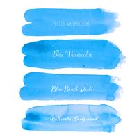 Blue brush stroke watercolor on white background. Vector illustration