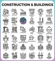 Construction & Buildings icons vector