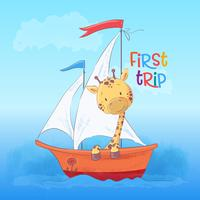 Postcard cute giraffe floating on the boat. Cartoon style. Vector