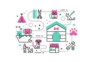 Ilustraciones de refugio de animales.