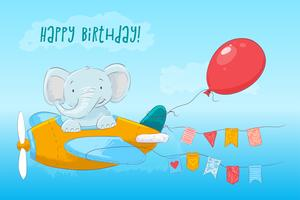 Postcard cute baby elephant flying on an airplane. Cartoon style. Vector
