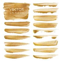 Golden vector brush stroke, Gold texture paint stain, Vector illustration.