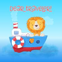 Postcard cute lion cub floats on the boat. Cartoon style. Vector