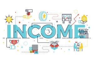 Illustration de lettrage du mot revenu