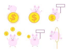 cute pig with money coin flat design