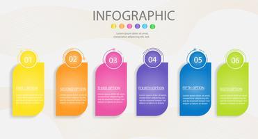 Modèle de conception Business élément de graphique infographique 6 étapes avec date de lieu pour les présentations, vecteur EPS10.