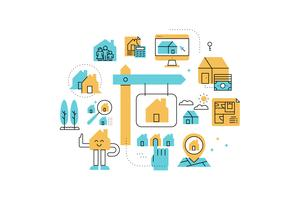 Real Estate line icons illustration