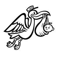 Uccello della cicogna di volo del fumetto che trasporta un bambino