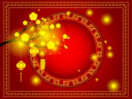 happy chinese new year golden cherry blossom on red background vector