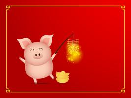 cute pig with firecracker on red background