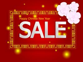 happy chinese new year sale on red background vector
