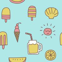 summer icons seamless pattern  background vector