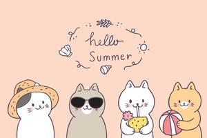 Cartoon cute summer cats vector.