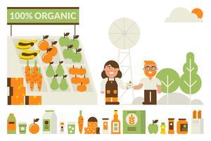 Concept de marché bio vecteur