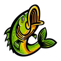 Jumping Bass Fish vector icon