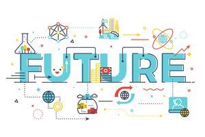 Futuro, palavra, lettering, ilustração