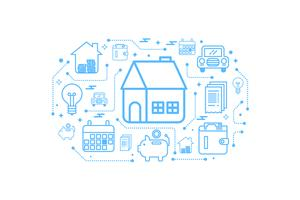 Real estate home outline icon concept