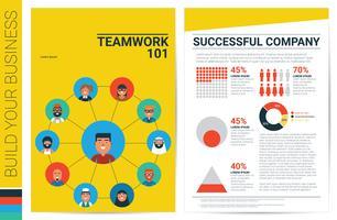 Modelo de capa de livro de conceito de trabalho em equipe vetor