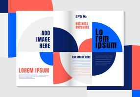 Brochure ontwerpsjabloon geometrische levendige kleuren cirkel element achtergrond.