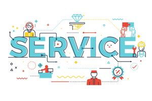 Service word lettering illustration