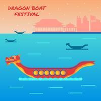 Dragon Boat Festival med kinesisk byggnad siluett