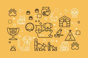 Pets line icons illustration