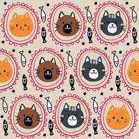 Cartoon cute cat and fish seamless pattern vector.