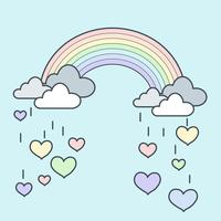 Rainbow Rain Heart
