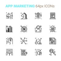 Icone perfette pixel di App Marketing