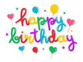 Balão de feliz aniversário colorido Typogrphy