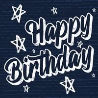 Rotulação de feliz aniversário Brush Script mão estilo