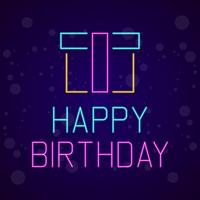 Happy Birthday Neon Signboard Vector Illustration