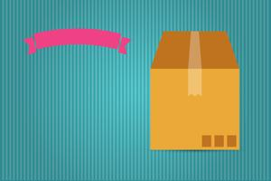 cardboard box and pink ribbon vector
