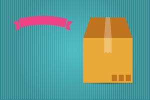 caixa de papelão e fita rosa