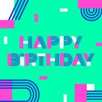 Gelukkige verjaardag aangepaste geometrische typografie