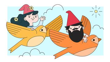 Vector de vuelo de gnomos