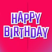 Happy Birthday Typographic Greeting Cards Template Design