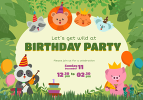 Cute Animal Birthday Invitation Vector Character
