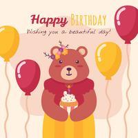 Feliz cumpleaños animales vector