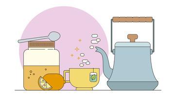Vecteur de thé au citron et au miel